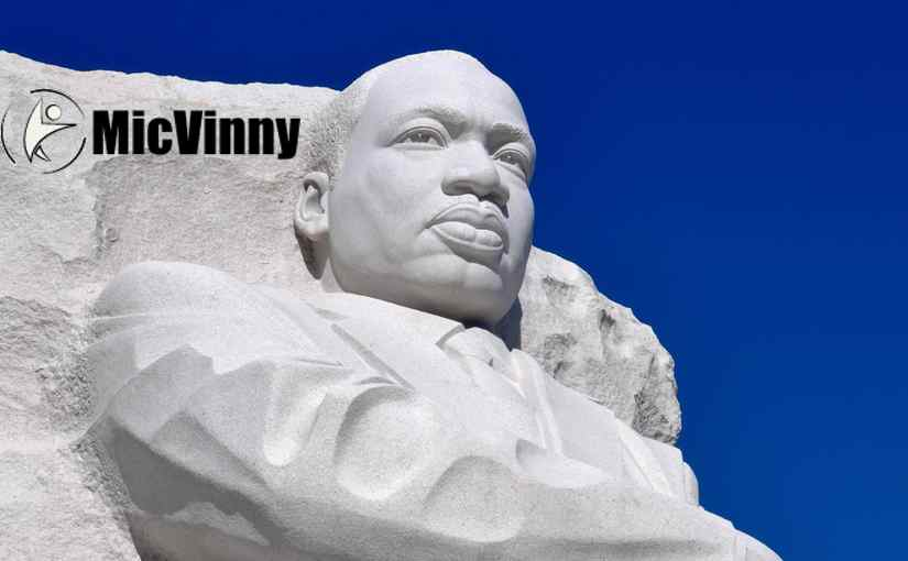 Martin Luther King Jr memorial in DC with MicVinny logo